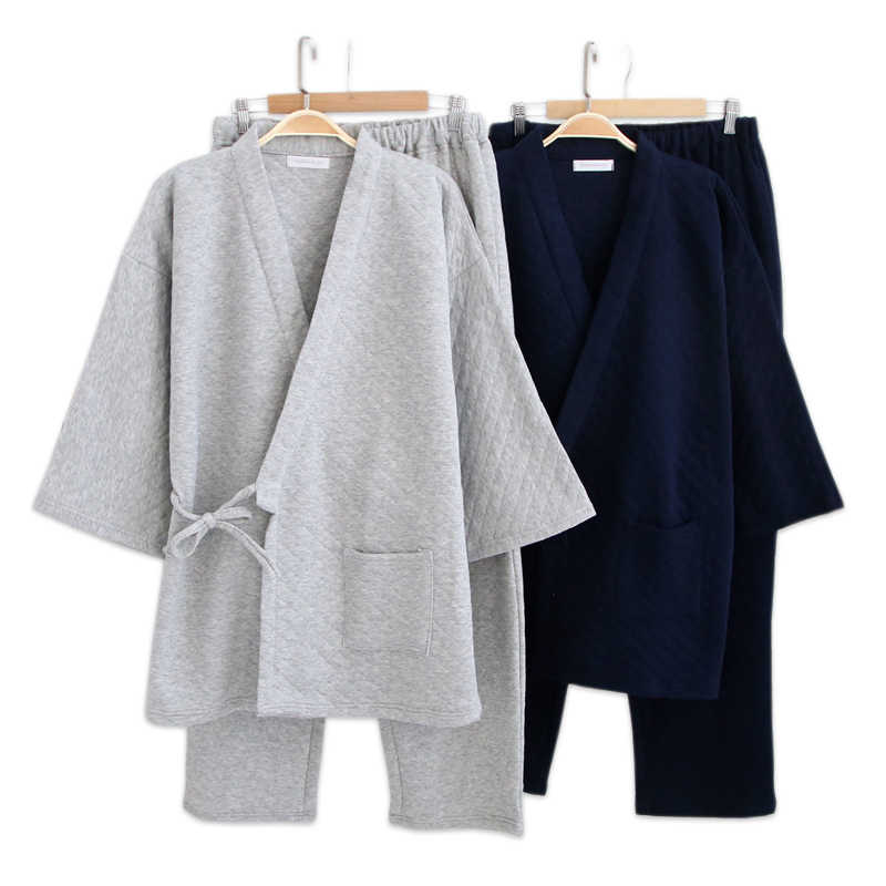 50a247afd9 Winter keep warm lovers kimono robes pajama sets men and women Japanese  Long sleeve thicken 100