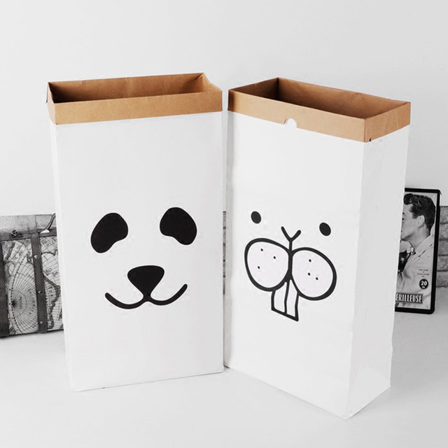 Heavy Kraft Bag For Toys Baby Room Organizer Cartoon Toy Storage Laundry Basket Clothing Underwear