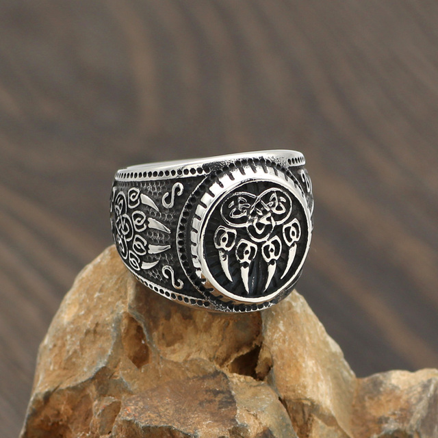 STAINLESS STEEL VIKING WOLF PAW RING