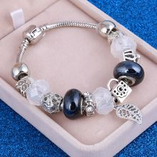 2019 New Crystal Beads Bracelets Bangles Silver Plated Charm Bracelets For Women Friendship Pulseras Wholesale Summer Jewelry(China)
