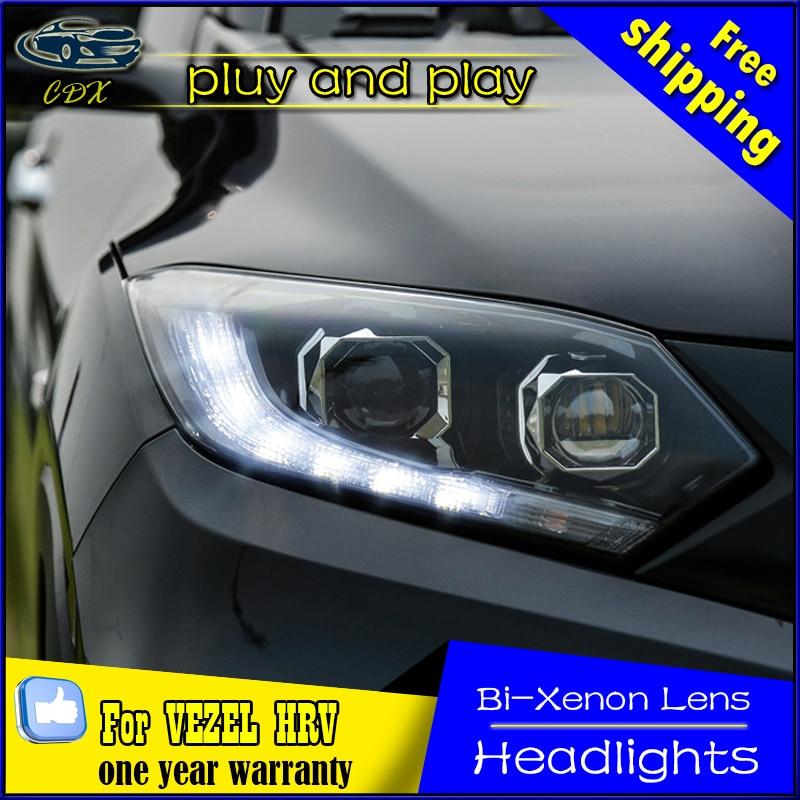 CDX Car Styling for Honda HRV Headlights 2014-2016 Vezel LED Headlight DRL Bi Xenon Lens High Low Beam Parking Fog Lamp