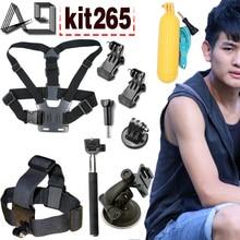 A9 для GoPro Интимные аксессуары комплект для Xiaomi Yi Hero 4 сеанса/3 +/3 SJCAM/SJ4000 Действие Спорт камеры Грудь Глава ремень + монопод + поплавок