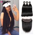 Ear To Ear Lace Frontal Closure With Bundles Mink 8A Brazilian Virgin Hair With Closure Straight Human Hair With Frontal Closure