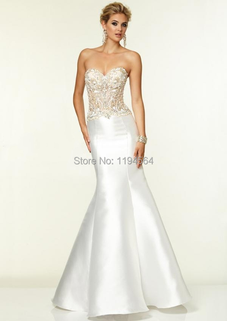 Lovely 2015 Crystal Beading Bridal Gown Mermaid Sweetheart Wedding Dresses Satin  Low Back Long PE880