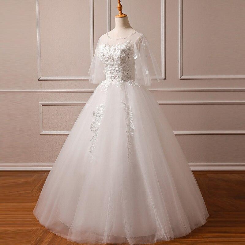 O-Neck Wedding Dress Vestido De Noiva Appliques Pearls Lace Plus Size Half Sleeves Tulle Wedding Gowns Bridal Dresses