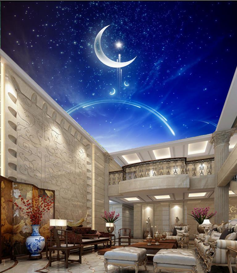 ᗑpapier Peint Mural Photo Papier Peint Plafonds Bleu Ciel 3d