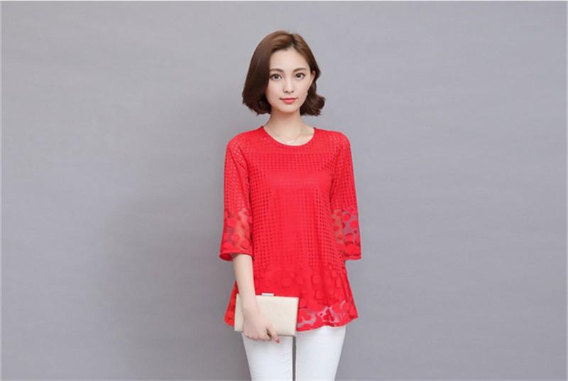 Plus Size 4XL 5XL 6XL  Luxury Lace O Neck  Women Blouse Shirt Noble Long Mesh sleeve Shirt Blouse Vintage tops Blusas Femininas (36)