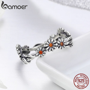 Image 4 - BAMOER Hot Sale 100% 925 Sterling Silver Twisted Daisy Flower Female Finger Rings for Women Wedding Silver Jewelry Anel SCR298