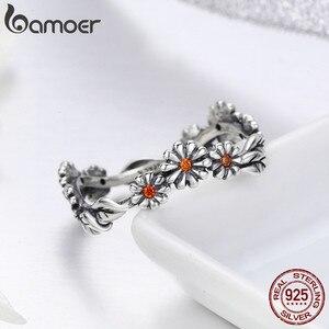 Image 3 - BAMOER sıcak satış 100% 925 ayar gümüş Twisted papatya çiçek kadın parmak yüzük kadınlar için düğün gümüş takı Anel SCR298
