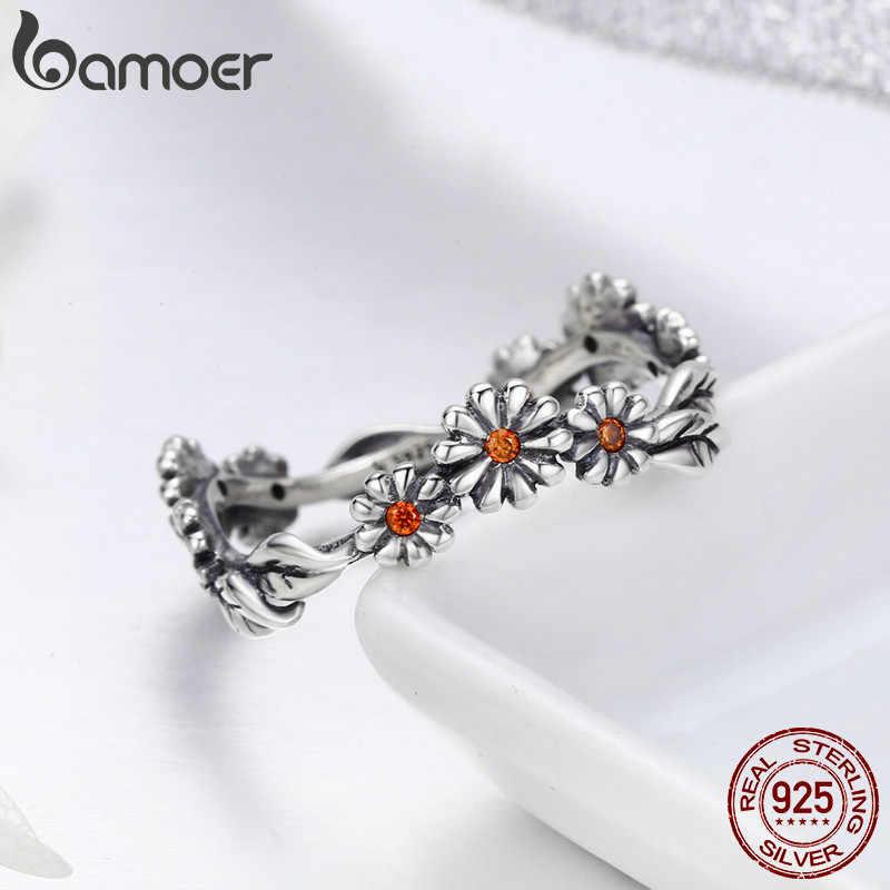 BAMOER sıcak satış 100% 925 ayar gümüş Twisted papatya çiçek kadın parmak yüzük kadınlar için düğün gümüş takı Anel SCR298