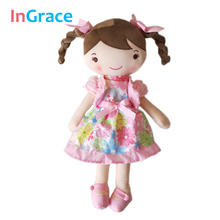 In.Grace NEWEST toys for girls little red girl dolls with round eyes 2 colors lifelike doll birthday gifts for kids girl 12 inch