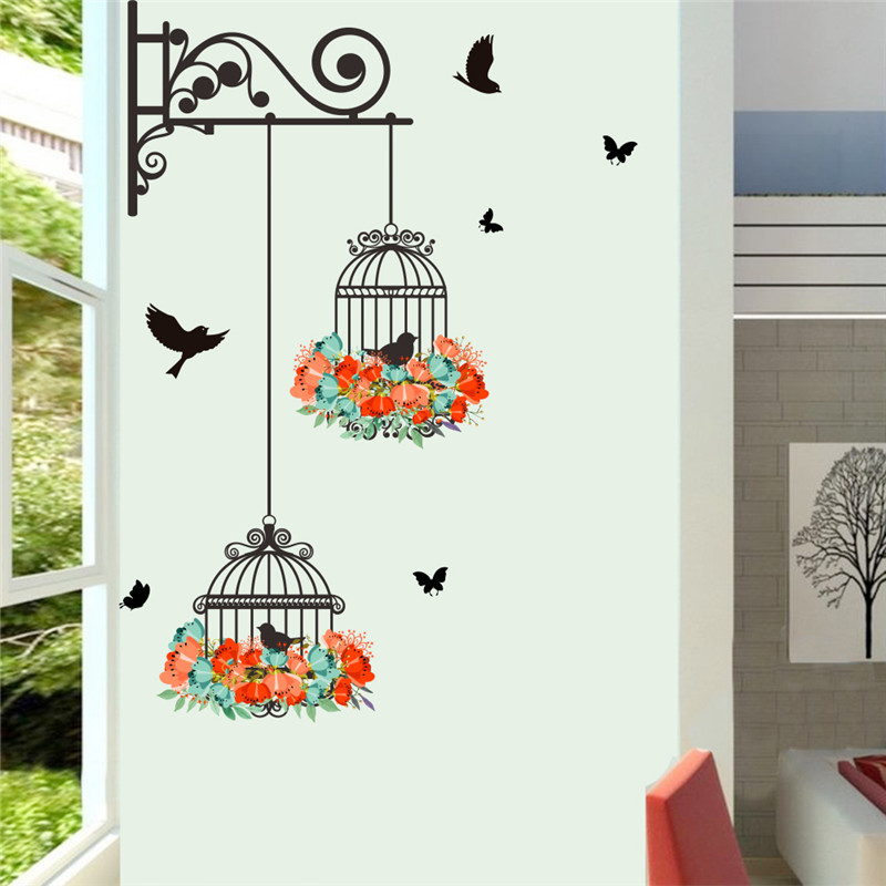 Colorido Flor birdcage etiqueta de la pared calcomanías flying birds - Decoración del hogar