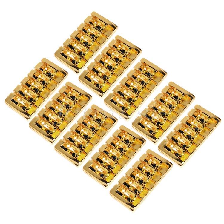 10 pièces 5 cordes pont carré selle plaqué or 19mm chaîne espace avec Srews Allen clé pour remplacement de guitare basse