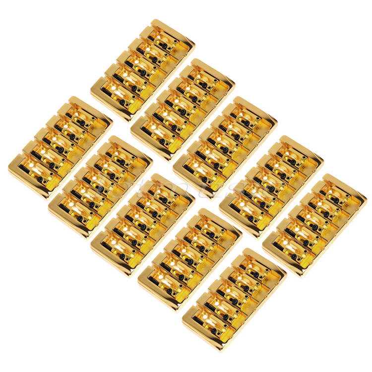 10pcs 5 String Bridge Square Saddle Gold Plated 19mm String Space With Srews Allen Wrench For Bass Guitar Replacement
