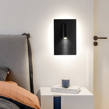 Thrisdar Creative Backlit Bedside Reading Wall Light With Double Switch Hotel Corridor Stair Wall Light With Reading Spot Light