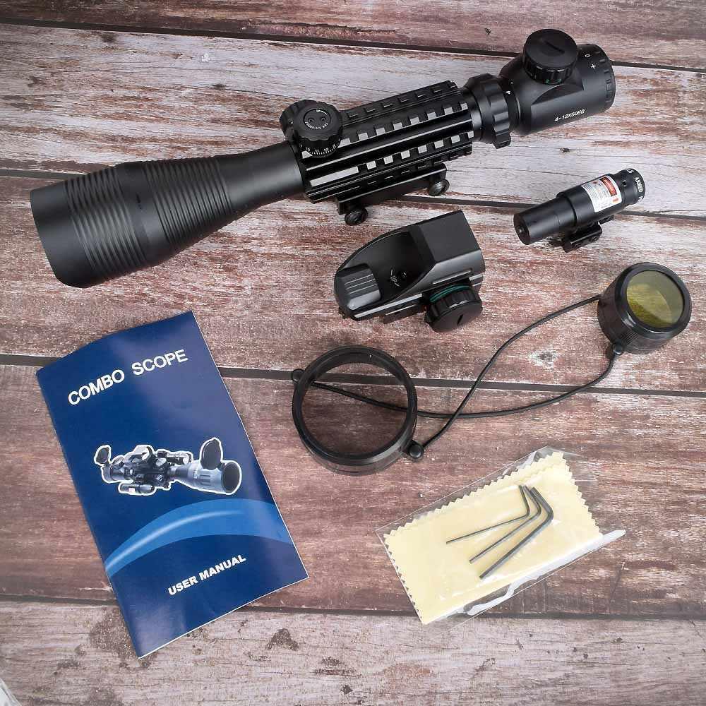 WIPSON 4-12X50 מואר מד טווח Reticle רובה היקף הולוגרפית 4 Reticle Sight 11mm ו 20mm אדום לייזר קומבו Riflescope