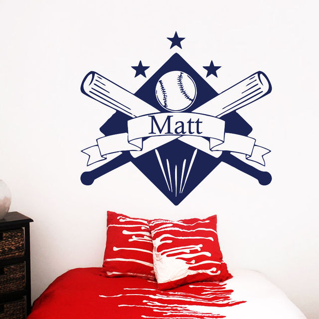 Baseball Wall Decals Name Decal Personalized Vinyl Sticker Boys Nursery