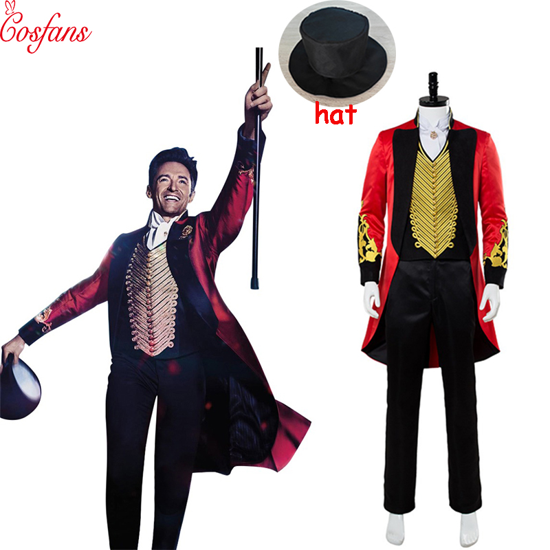 6PCS The Greatest Showman P.T. Barnum Cosplay Costume Outfit Adult Men Halloween Carnival Costumes Full Set And Hats Custom Made