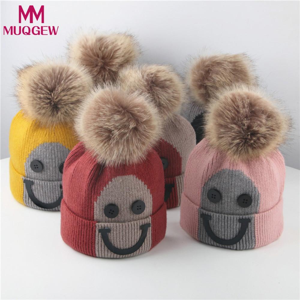 Cute 1pc Kid Toddler Girl Baby Winter Braid Crochet Knit Hat Beanie Hairball Cap
