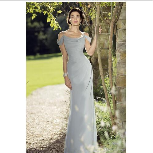Silver Chiffon Bridesmaid Dresses 100 Real Photos Built Bra Wedding Party Dress Sheath Off Shoulder