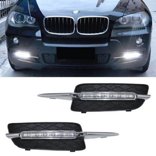 Free shipping Xenon White 18W LED Daytime Running Lights DRL For 2007-10 BMW X5 (E70 Pre-LCI)