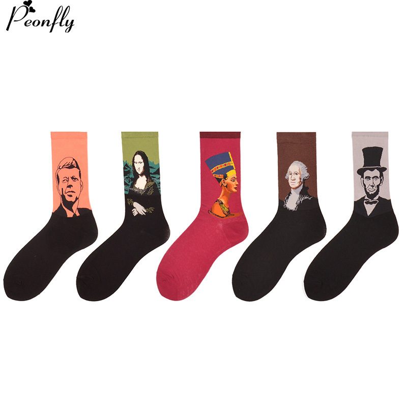 PEONFLY  5 pairs/lot Mens Colorful Funny Socks Fashion Street Style Skateboard Socks Cool Pattern Combed Cotton Socks