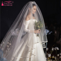 Ribbon Edge Long Veils Simple Elegant Bridal Wedding Veil One Layer 3m length ZV023