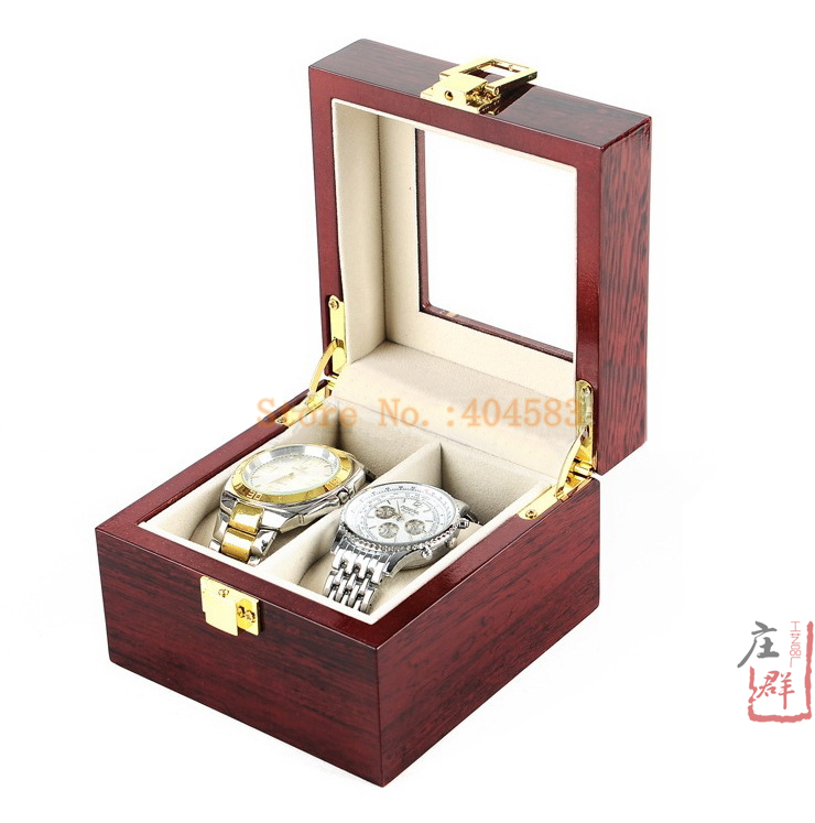 2 slot glossy wooden cherry lover's watch box luxury watch box wedding watch box