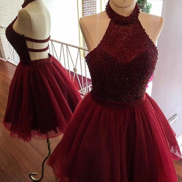 6584c8398bf 2017 Burgundy Homecoming Dresses Halter Neckline Backless Mini Homecoming  Dresses Beaded Tulle Cocktail Party Dress