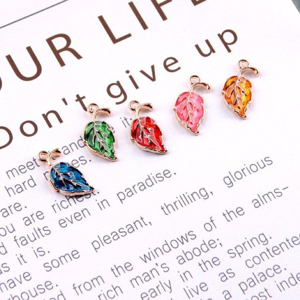 30PCS/lot Enamel Leaf jewelry findings components Making Alloy Oil Drop DIY Pendants For Bracelet Necklace jewelry accessories