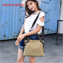 Vintage casual handbags canvas ladies shoulder bag female large capacity multi-layer