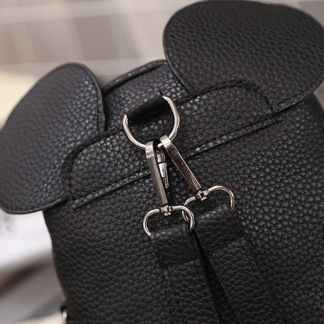 2018 New Mickey Backpack Pu Leather Female Mini Bag Women's Backpack Sweet Bow Teen Girls Backpacks School Bag Lady Shoulder bag 4