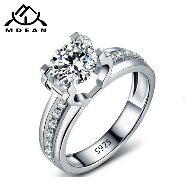MDEAN  White Gold Color Round AAA Zircon Classic Style Engagement Jewelry Rings For Women Size 6 7 8 9  MSR066