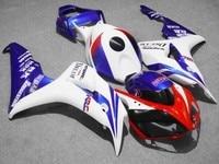 Custom motorcycle Injection Fairings kits for (hd) 06 07 CBR1000RR 2006 2007 CBR 1000RR fireblade white blue HRC fairing kits