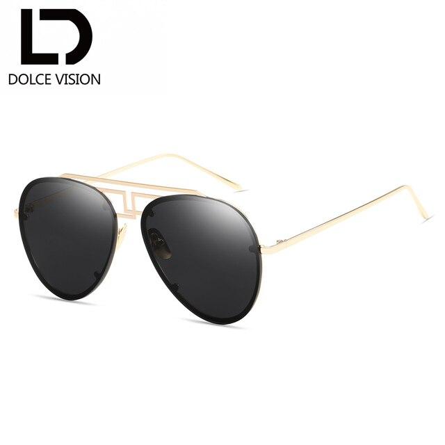 a039ca6a699 DOLCE VISION Rimless Pilot Black Mirror Sunglasses Women Shades Gold Metal  Original Sun Glasses For Men Brand Designer Oculos