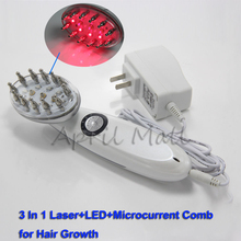 Portable LED+Microcurrent+Laser Hair Comb for Hair Growth Power Grow Brush Scalp Massage Hair Loss Treatment Therapy Health Care
