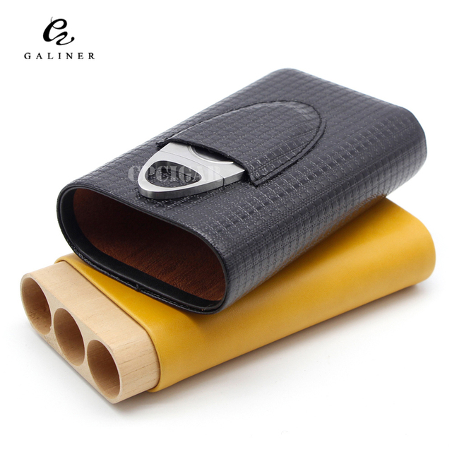 Real Leather Portable Cigar Case Travel Cigar Humidor