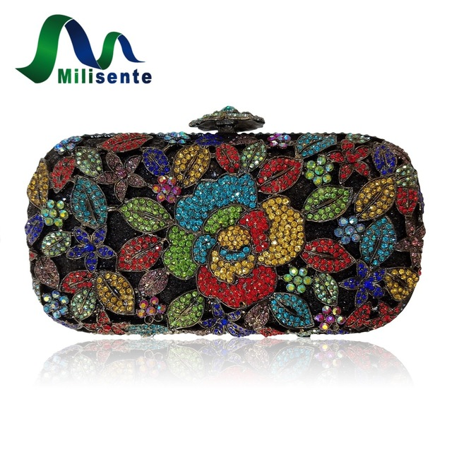 Milisente Women Evening Clutches Bags Red Colour Party Purses Oval Shaped Clutches Wedding Happiness Crystal Party Bag