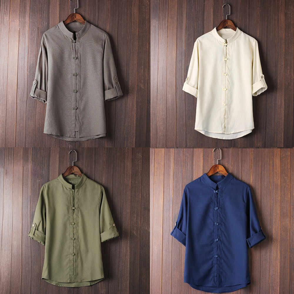 男性古典的な中国風のカンフーシャツトップス唐装 3/4 袖リネンブラウスシャツ通気性長袖ルーズ固体色