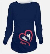 Забавный осенью беременность зимой майка материнства футболки рубашки беременных топы длинным