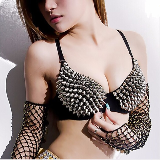 New Hot Sexy Bra Women Fashion Spike Stud Rivet Bra Gold Silver Lingerie Punk Party Wear Clubwear push up Bra for women 1