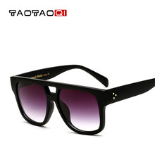 Фотография TAOTAOQI Brand Sunglasses Women Plastic Square Sunglasses Men Multi-color Oval Sun Glasses VU400 Large Frame Glasses