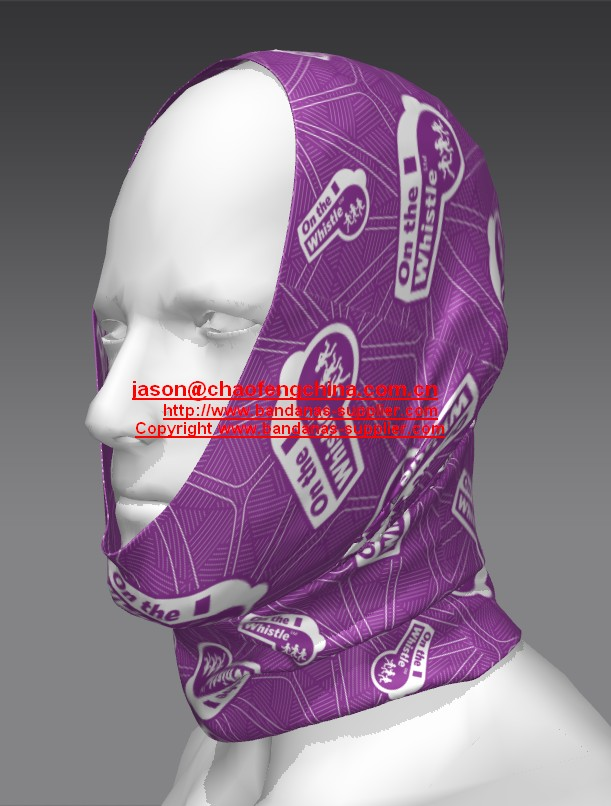 Customized 500pcs Polyester multifunctional tubular running scarf bandana for Claire Fleming UK, One color moud