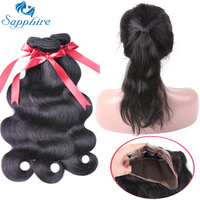 Sapphire Body Wave Remy Human Hair Bundles With 360 Lace Frontal Closure 1B Color For Hair