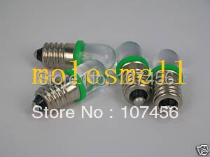 Free Shipping 50pcs GREEN E10 6V Led Bulb Light Lamp For LIONEL 1447