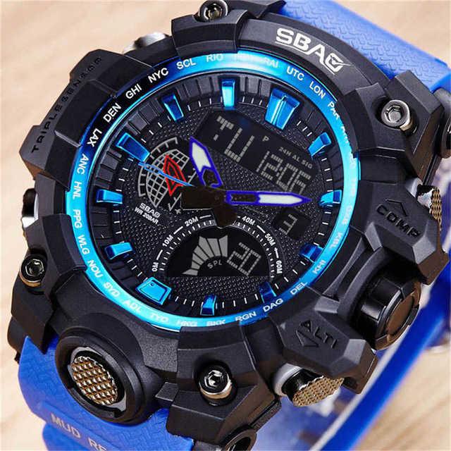 SBAO Fashion LED Sport Men Watch Silicone Strap Band Dual Display Wrist Watch Luxury Brand Quartz Casual Watch Relogio Masculino