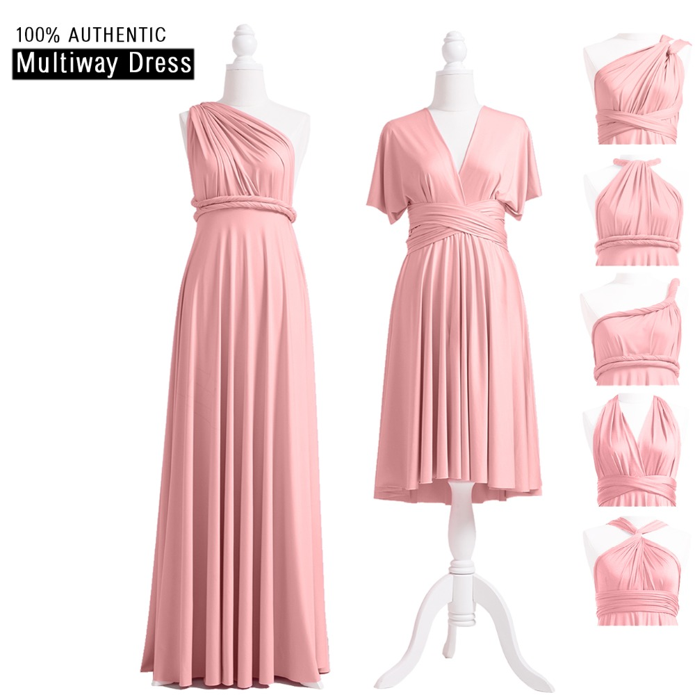 Dusty Rose Infinity Bridesmaid Dress Long Multi-way Dress Wrap Maxi Dress Convertible Dress With Halter One Shoulder Styles
