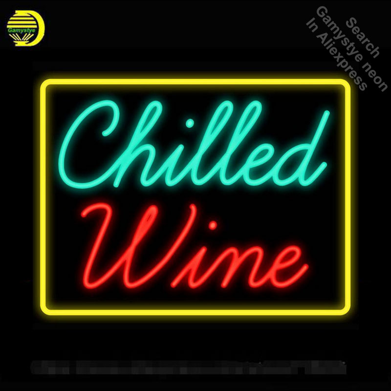 цена Neon Sign Chilled Wine Real Glass Tube vintage neon sign Beer Bar Pub Handcrafted neon signs for home custom Iconic Sign Art в интернет-магазинах