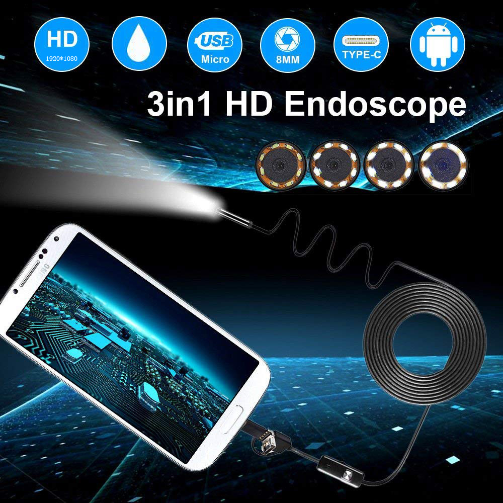 1080P HD Android Endoscope Camera 8mm 2MP USB  USB Borescope Tube 1M 2M 5M Snake Mini Cameras Micro Camera 8 Leds For Android PC