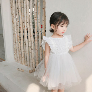 Image 3 - 2019 Summer New Arrival Korean Version cotton pure color all match princess lace vest bubble dress for cute sweet baby girls